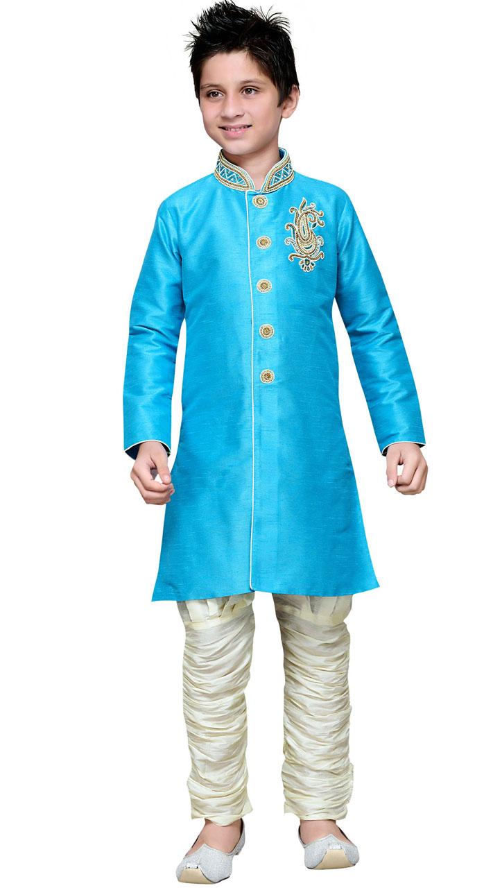 Firozi Blue Art Silk Kid Boy Sherwani With Hand Work GR18414