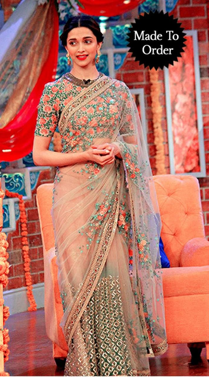 a80c3d4bfdc9b7 Floral Work Cream Net Deepika Padukone Replica Bollywood Saree BP1303