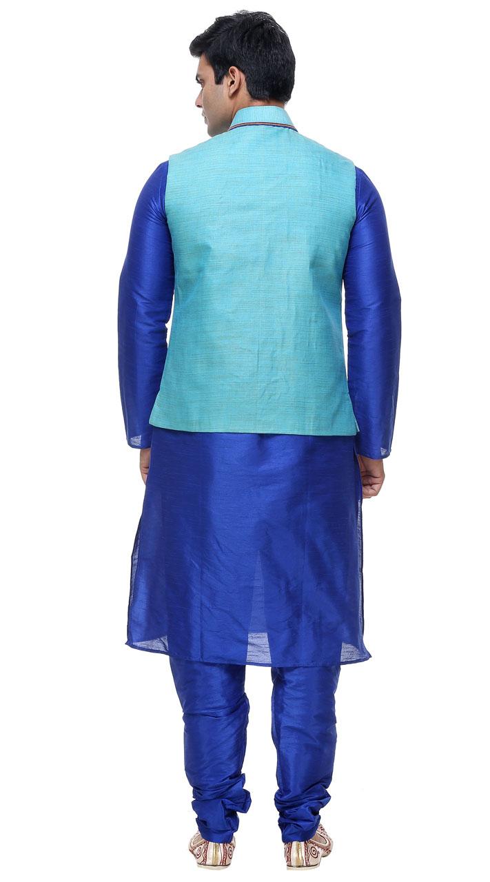 Silk Mens Churidar Kurta With Waist Jacket GR140503