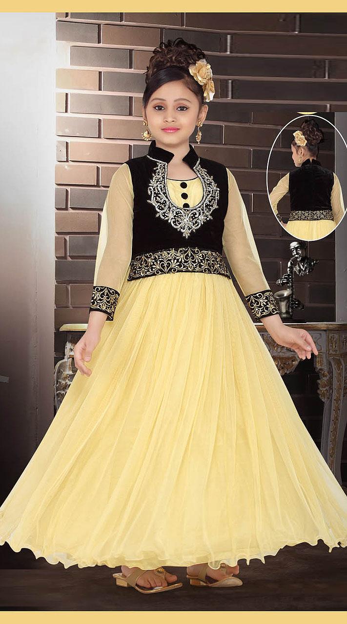 a9700180867b3 On Sale Inestimable Cream Net Black Short Koti Style Designer Kids Gown  DT53344