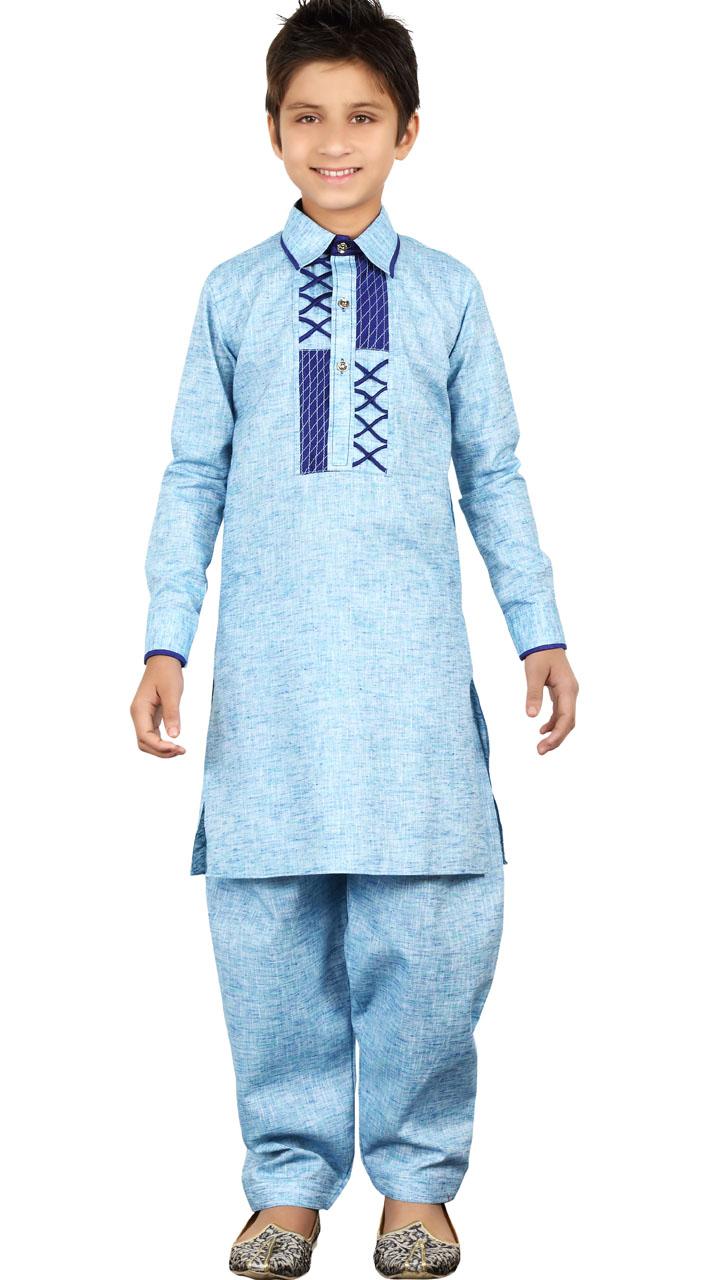 Linen Cotton Sky Blue Kid Boy Pathani Suit GR24013