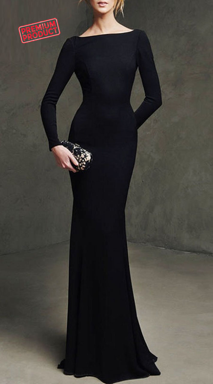 Long Sleeves Plain Black Satin Evening Dress BP0239