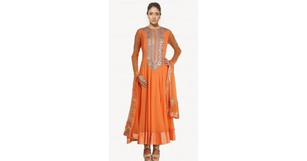 2267b8b4586 Lovely Orange Net Readymade Plus Size Suit SU17410