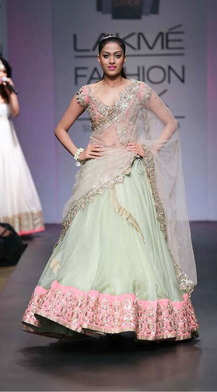 97fce7d7fcb Lovely Pastel Green Net Designer Replica Lehenga Choli With Dupatta BP1904