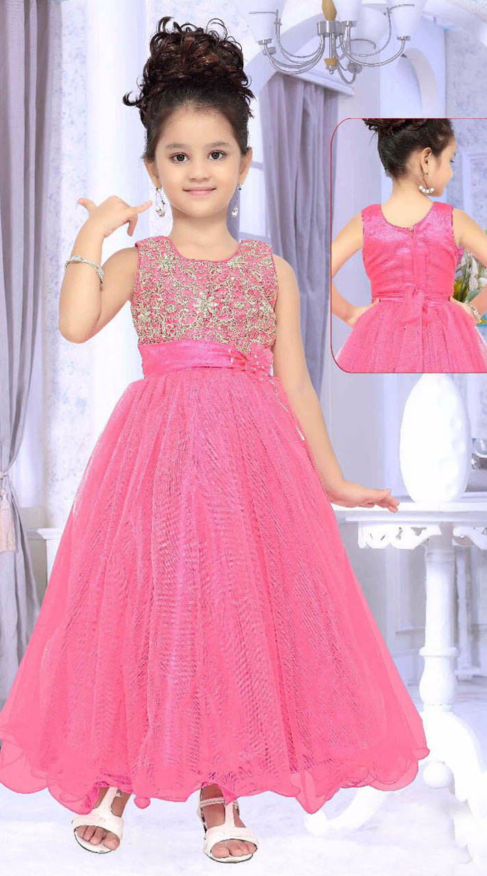 Lovely Pink Net Designer Readymade Kids Gown DT50842