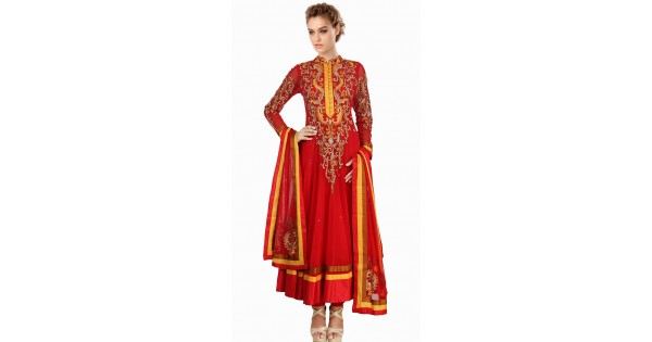 387fb79f9a4 Lovely Red Net Readymade Plus Size Suit SU18310