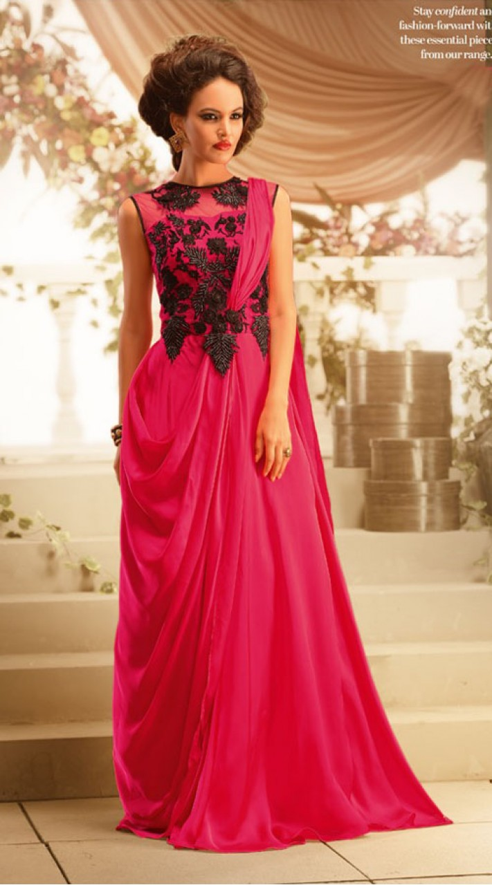 57274448 On Sale Lovely Ruby Faux Georgette Designer Indowestern Gown BR105191