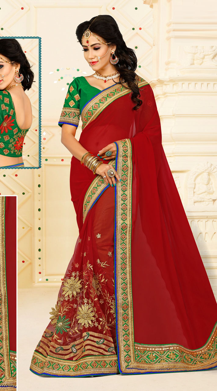 6dfc5f4539 Magnetize Red Floral Work Saree With Contrast Green Blouse VB11134C29