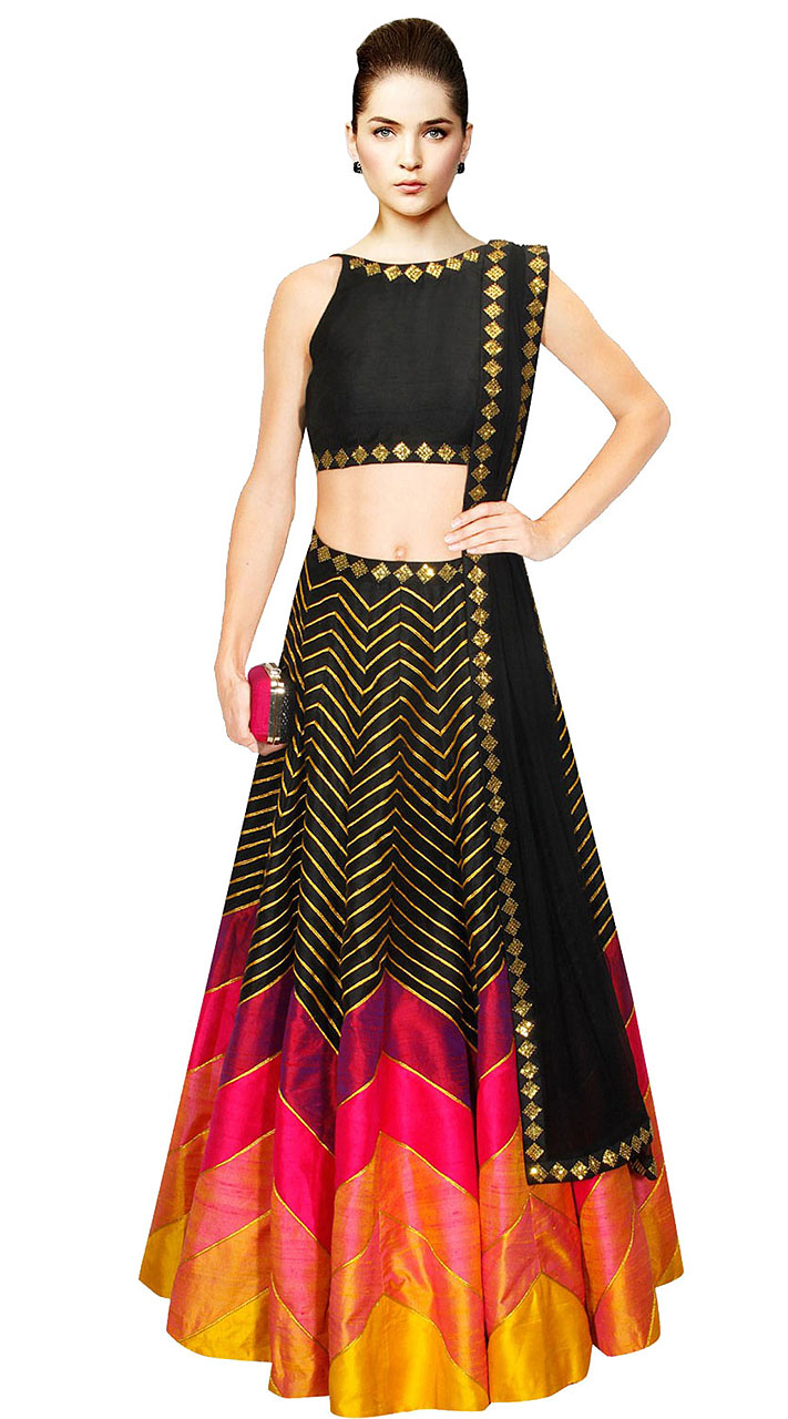 d408145db97b2d On Sale Marvellous Golden Stripes Black Silk Crop Top Lehenga SUUDL9815