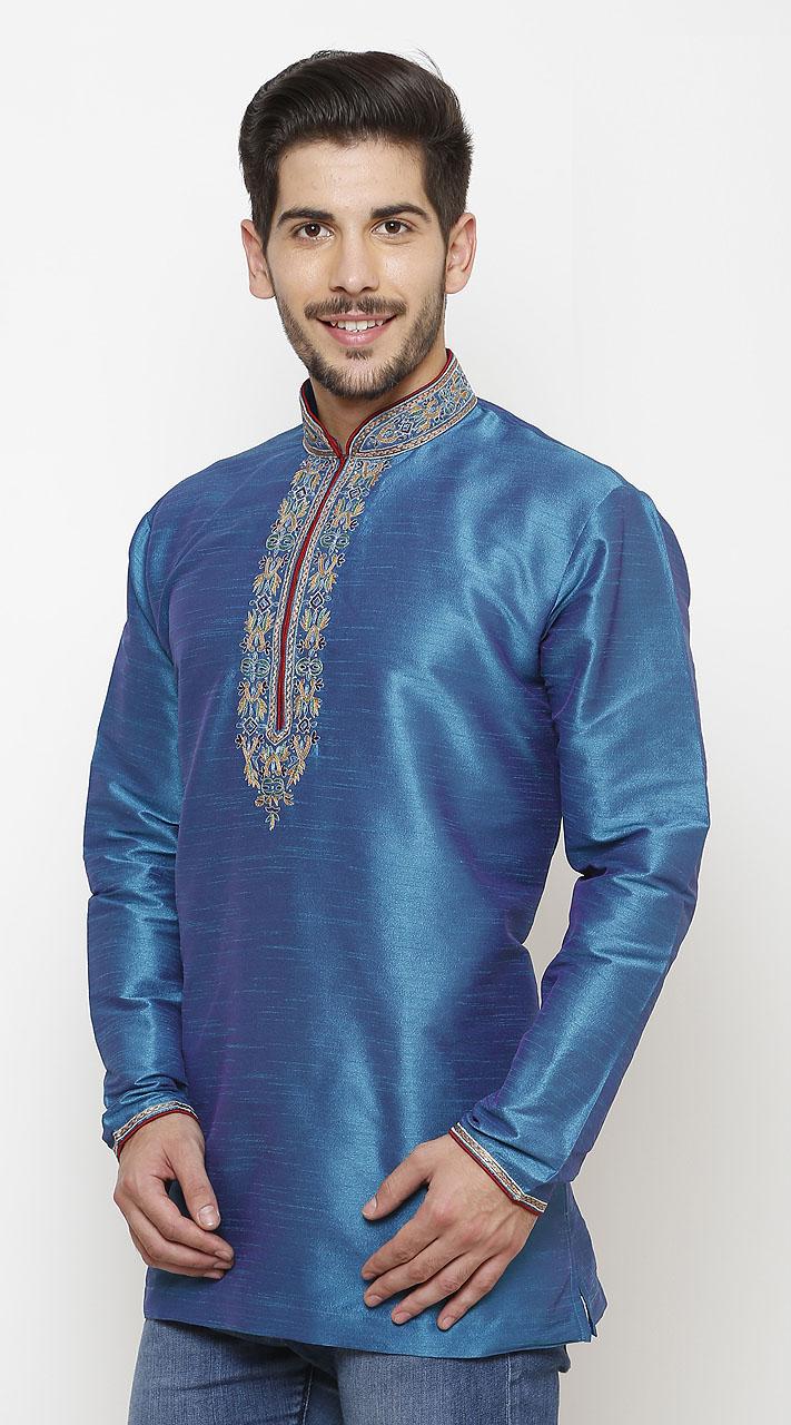 Mesmeric Blue Silk Chinese Collar Men Kurta DTMK947