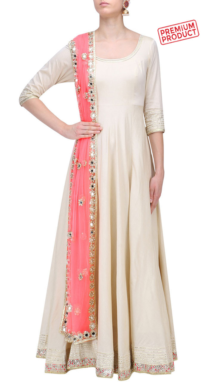 52427626a5b Off White Silk Floor Length Anarkali Suit With Mirror Work Dupatta SUMS30321