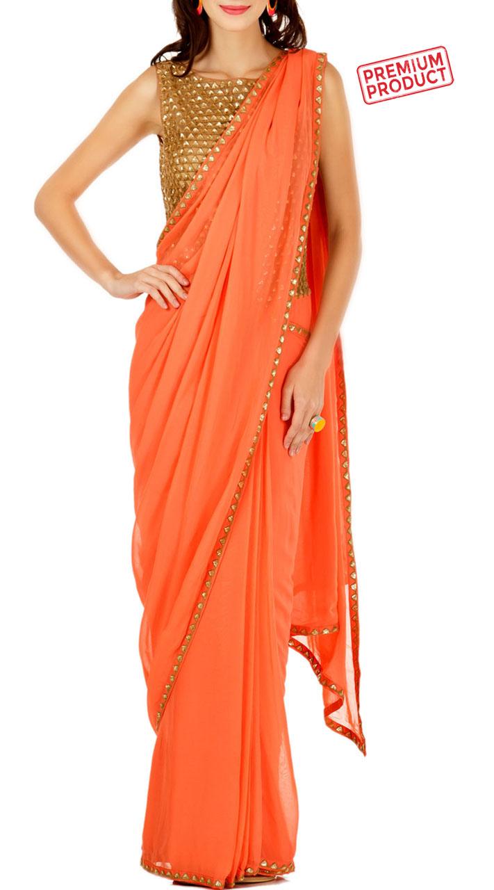 Orange Designer Saree Gown With Gold Sequins Work BP0934