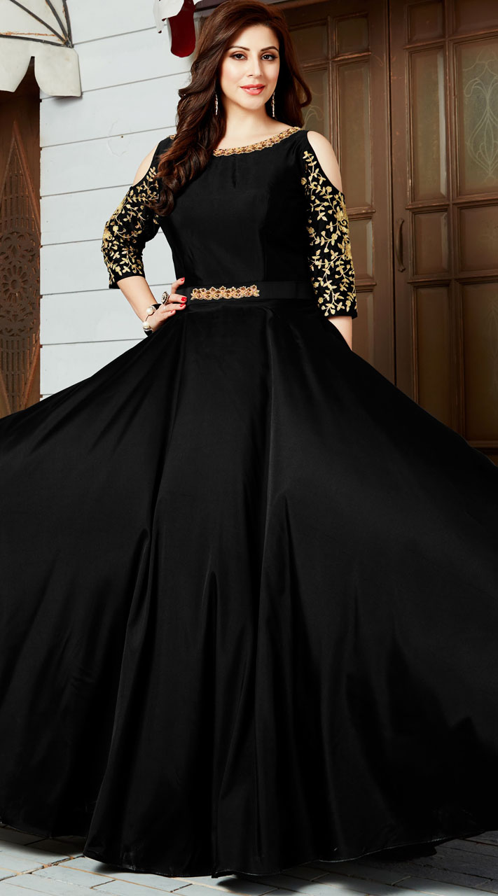 Party Wear Black Art Silk Gown Style Kameez With Cut Out Shoulder ...