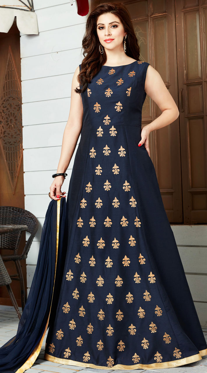 Party Wear Navy Blue Embroidery Work Gown Style Suit 2wv800217