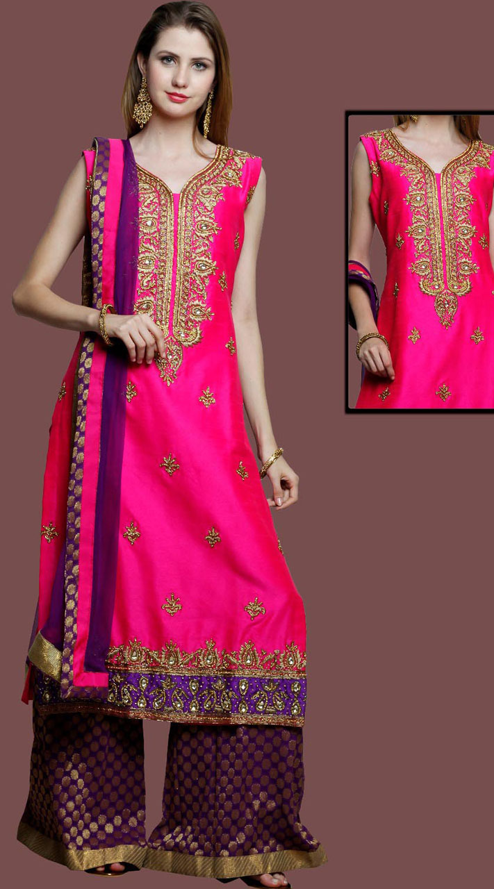 810297e2f8 Party Wear Pink Silk Sharara Suit With Matching Dupatta DT10661