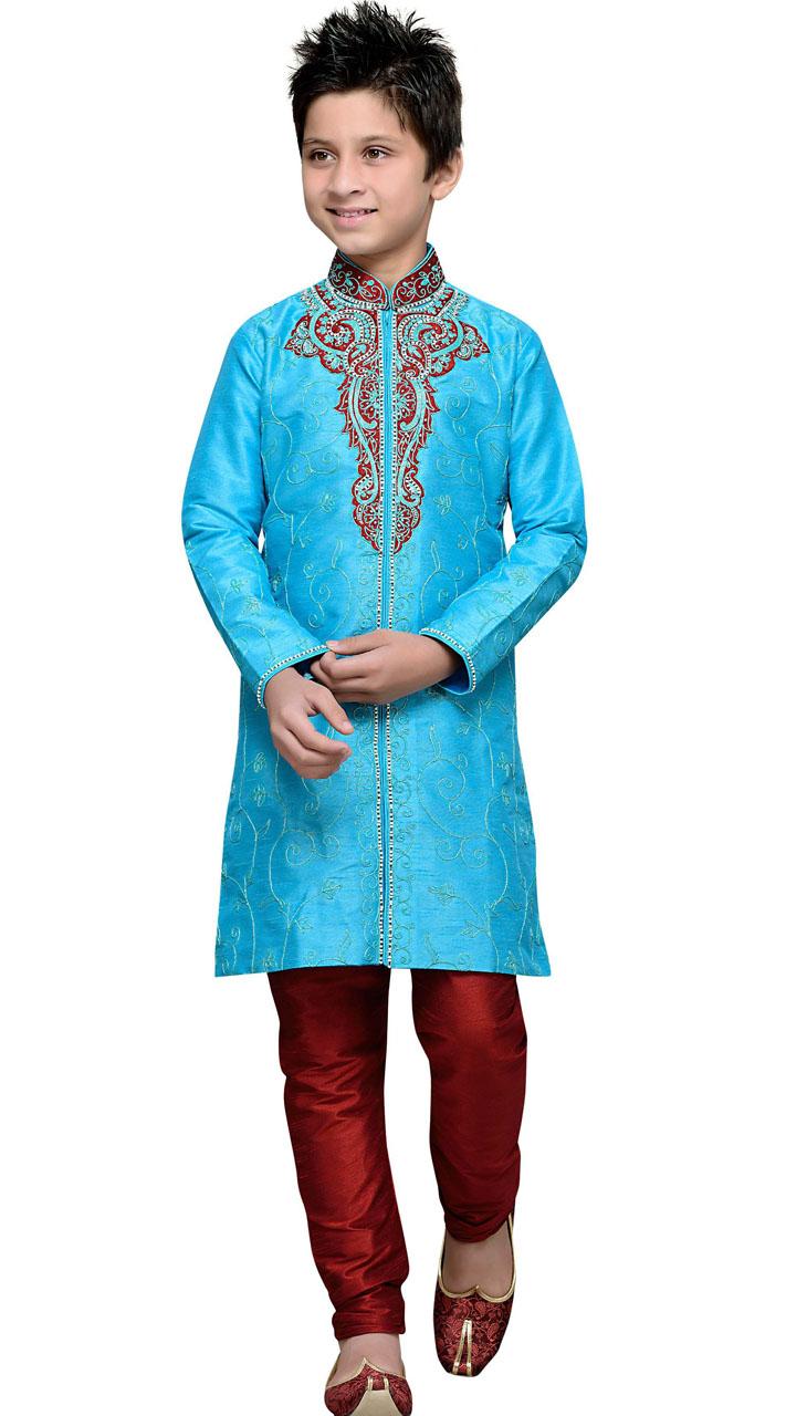 Party Wear Sky Blue Art Silk Boy Sherwani GR11508