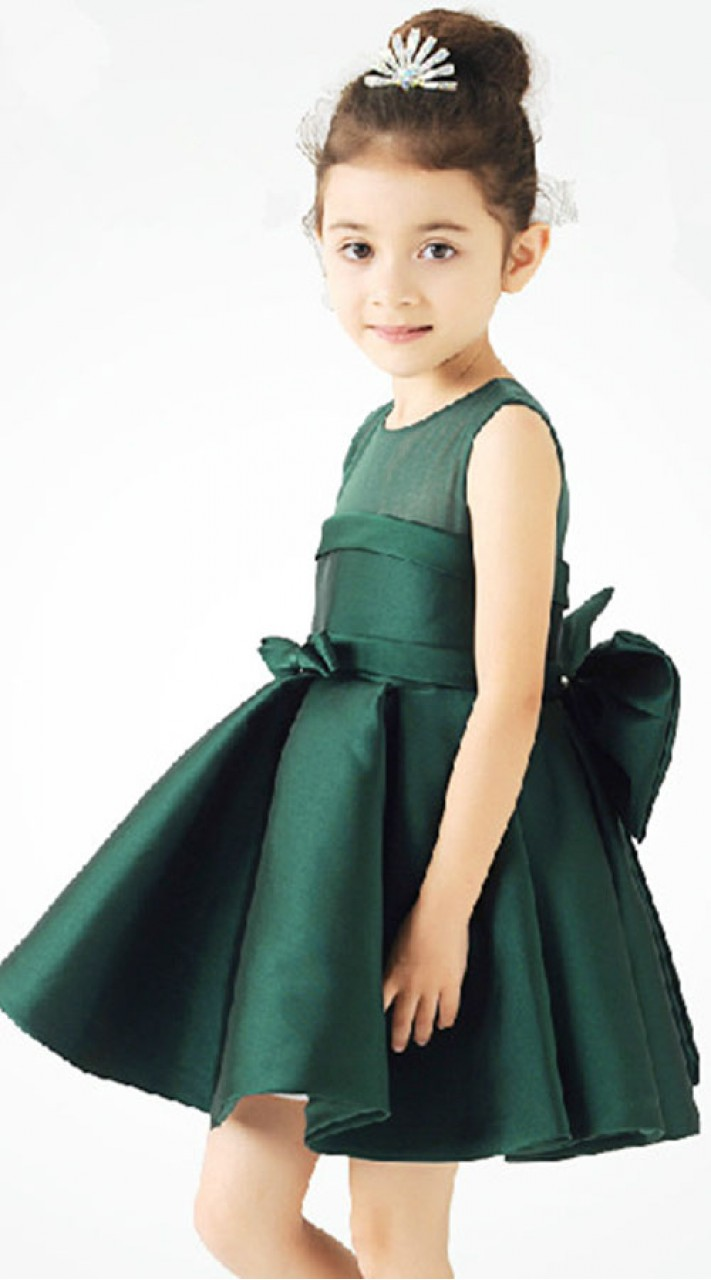 29ebc6faf2be Plain Green Beautiful Frock For Baby Girl BP1053
