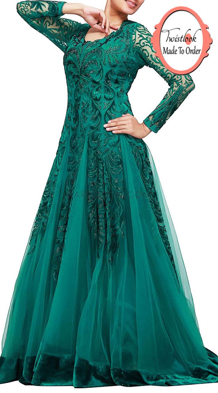 Teal Net Velvet Patch Work Designer Long Gown Bp0415