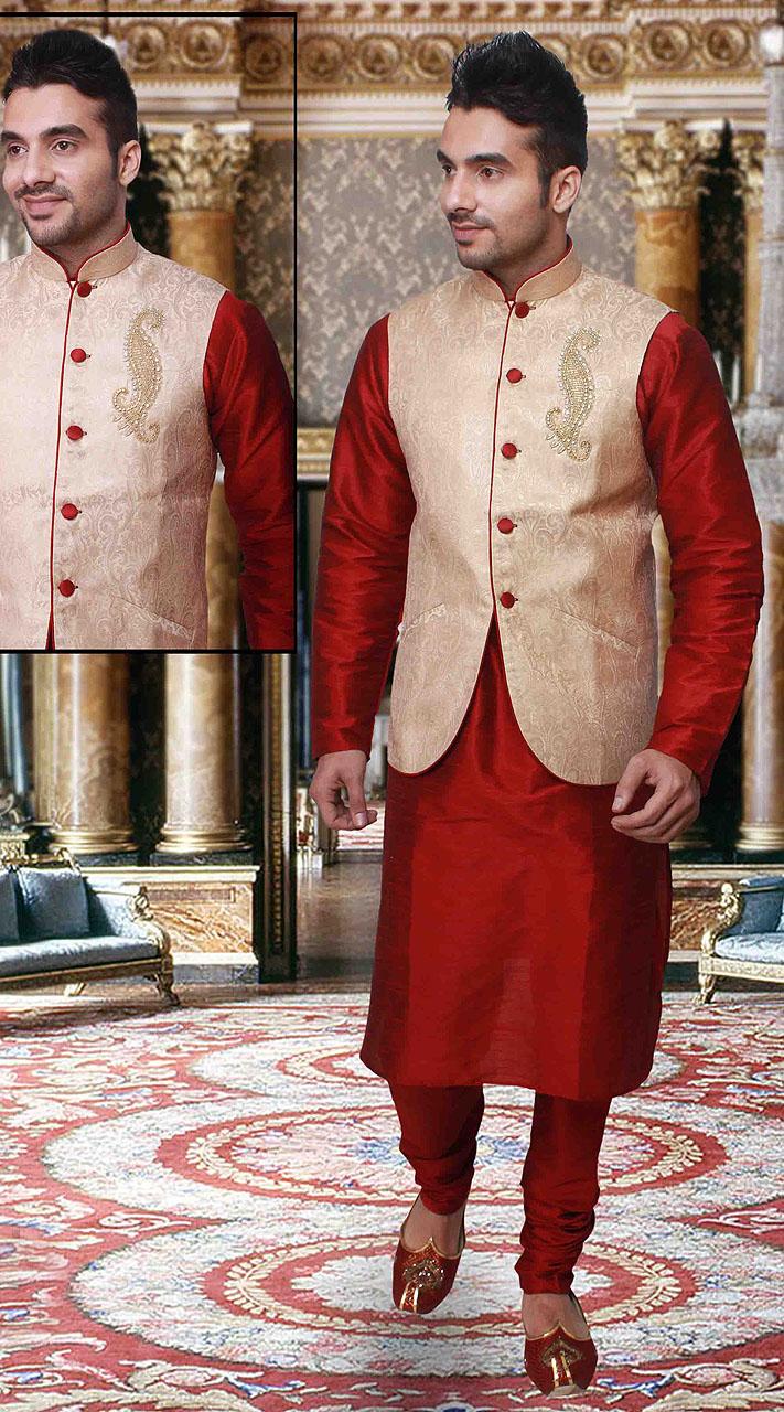 Red Silk Long Cream Nehru Jacket Kurta Pyjama Dtkpj133
