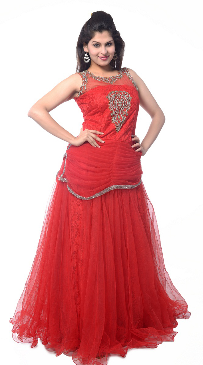 Red Net Long Indowestern Gown LD0804
