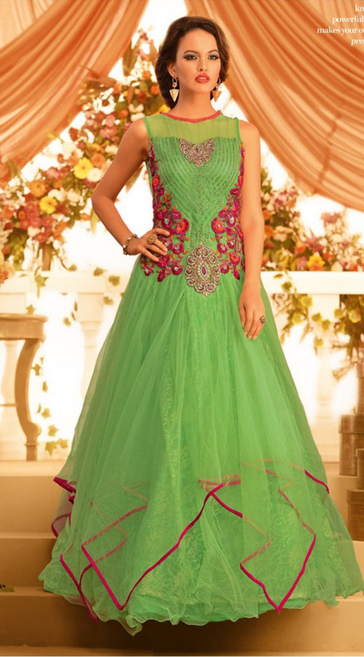d2619bd5e4 Resham Embroidered Lime Green Net Floor Touch Designer Indowestern Gown  BR105491