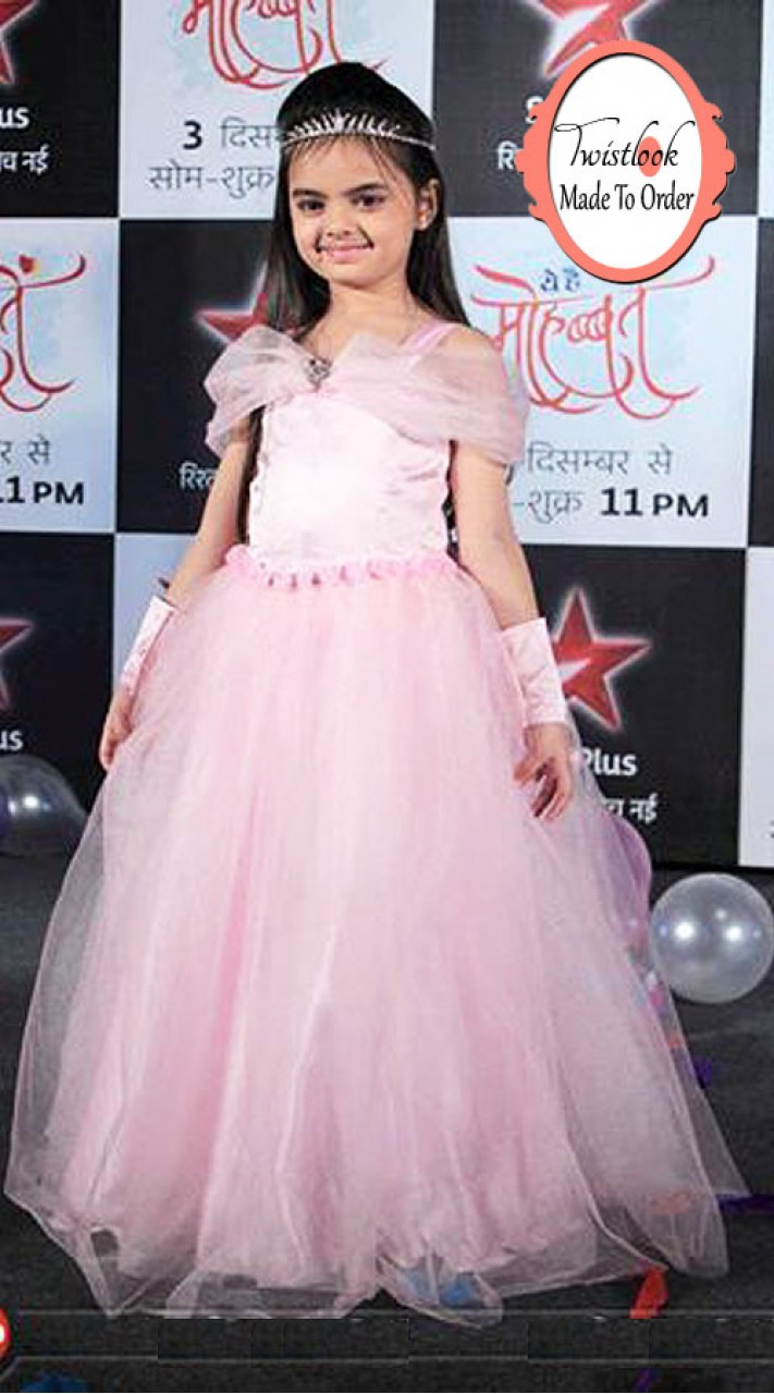 T.V Actress Ruhi In Light Pink Net Princess Gown BP0613