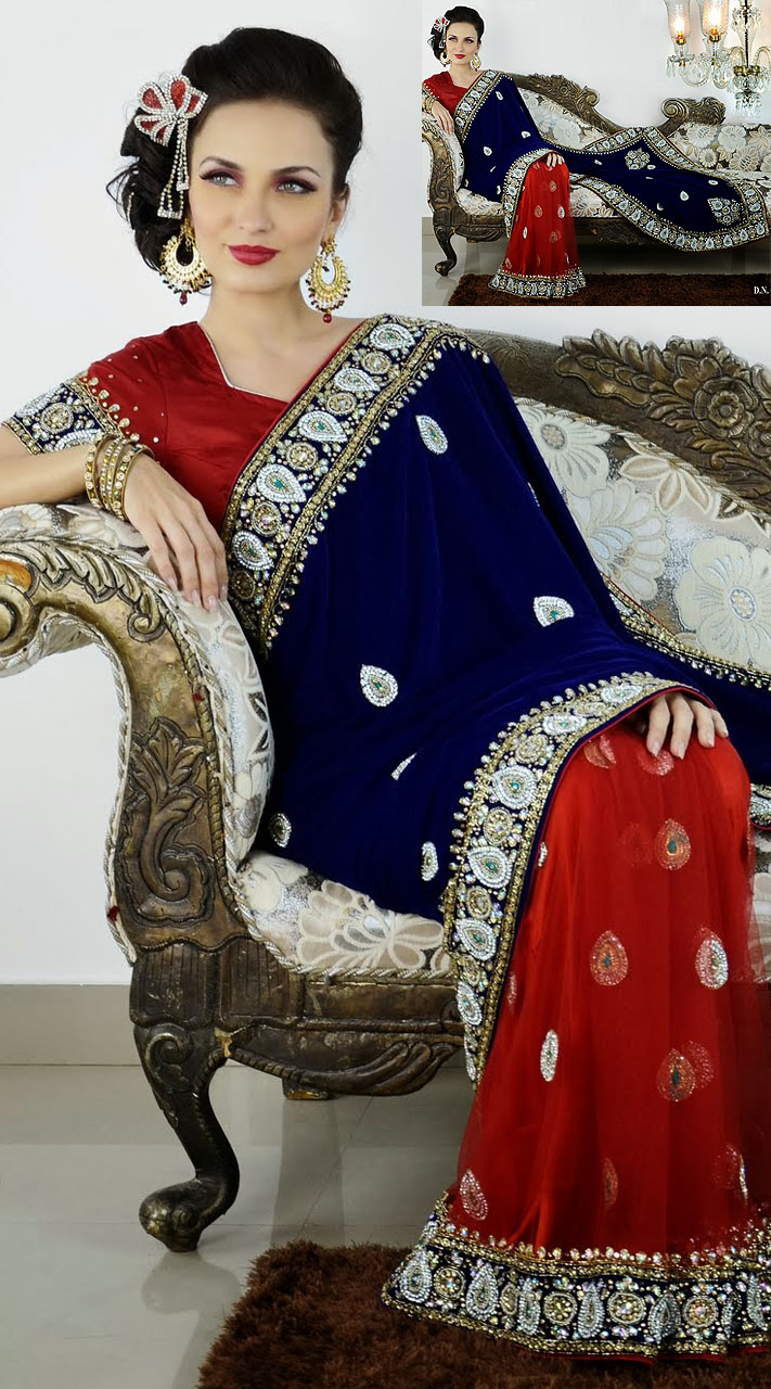 Red And Blue Net And Velvet Saree