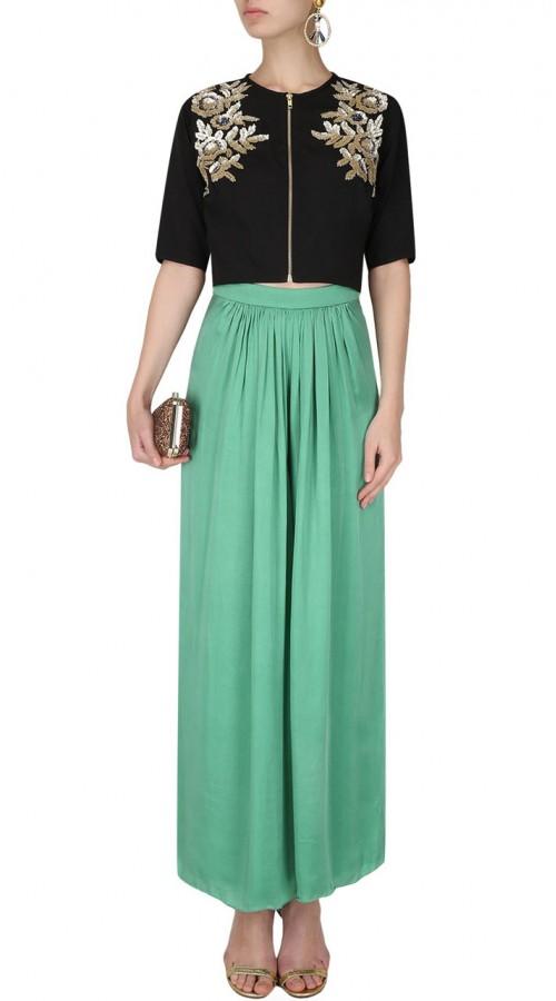 fdbf3ca7f Sea Green Silk Designer Crop Top Dress SUUDL26025