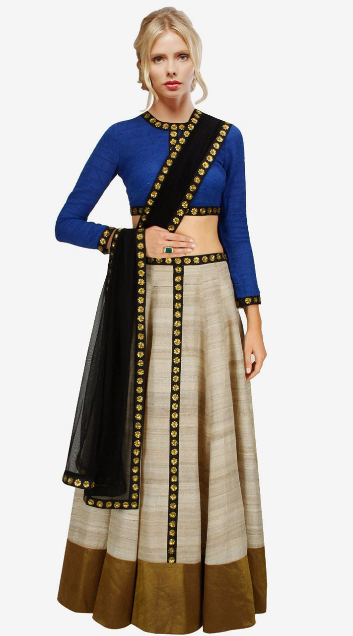 d7d53746a80 Stylish Silver Silk And Net Golden Work Crop Top Lehenga SUUDL2213