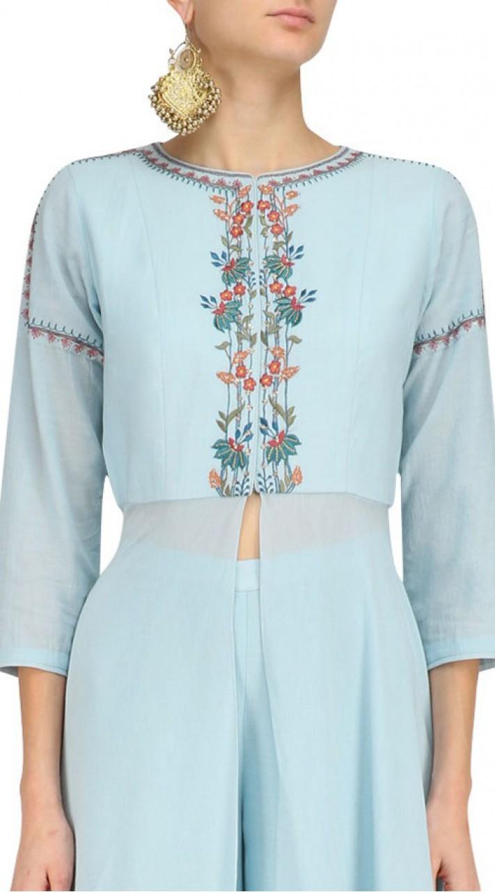 Sky Blue Georgette Plus Size Palazzo Pant Suit SUMA56828