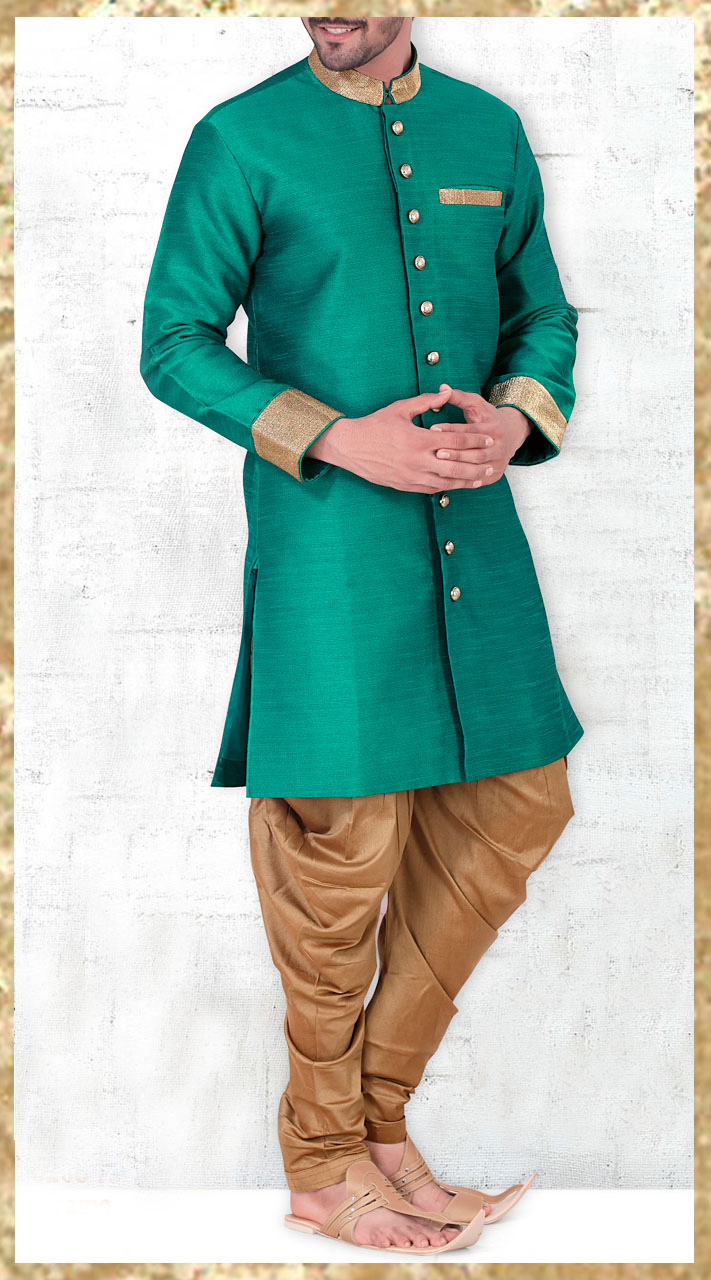 Teal Chinese Collar Kurta With Jodhpuri Pant 2MV1995221