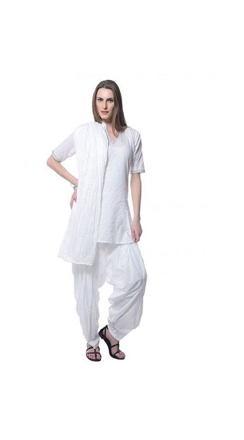 153f088aee Trendy Georgette White Plain Short Kameez With Salwar BP0319