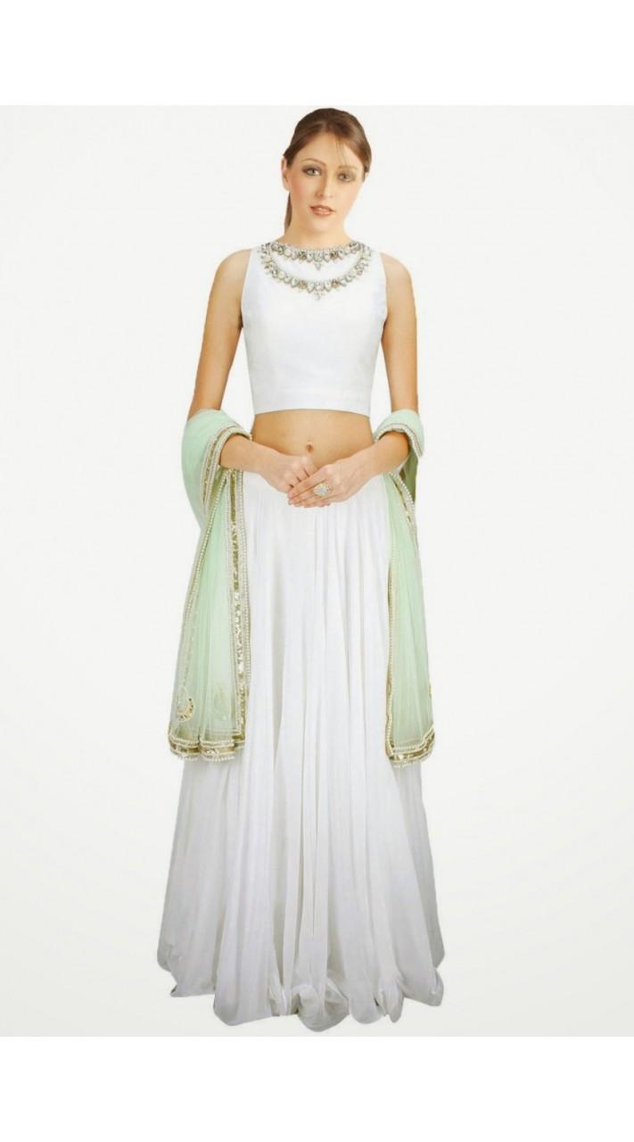 4316fe8efb On Sale Trendy White Georgette And Net Wedding Lehenga Choli SUUDL6114