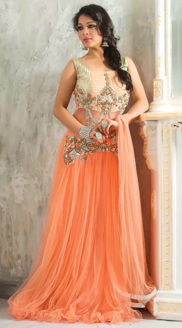 Wedding Salmon Orange Net Readymade Indowestern Gown 3FD3759212