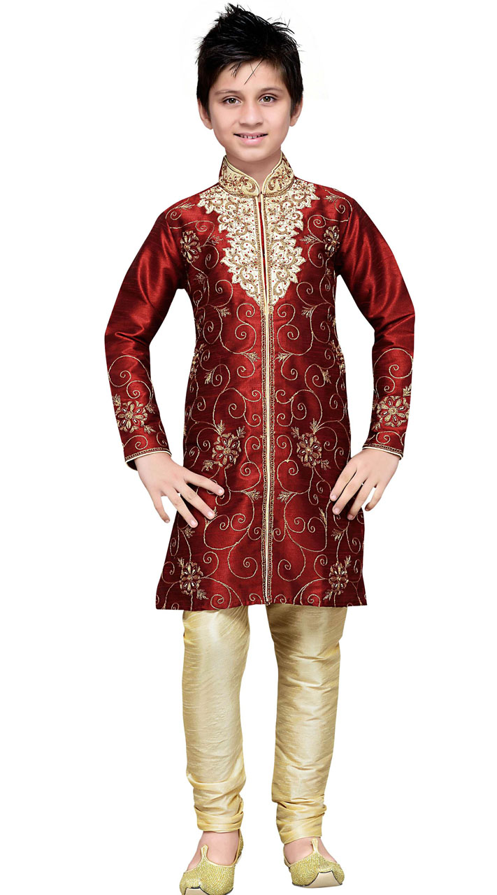 Wedding Wear Maroon Art Silk Boy Kurta Pajama Gr13910