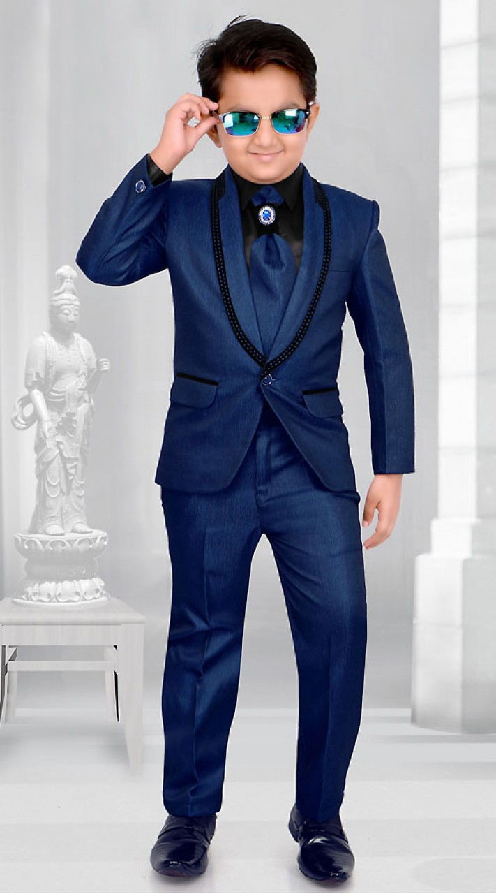 Blue Premium Fabric Kids Boy Tuxedo Coat Pant Dt225953