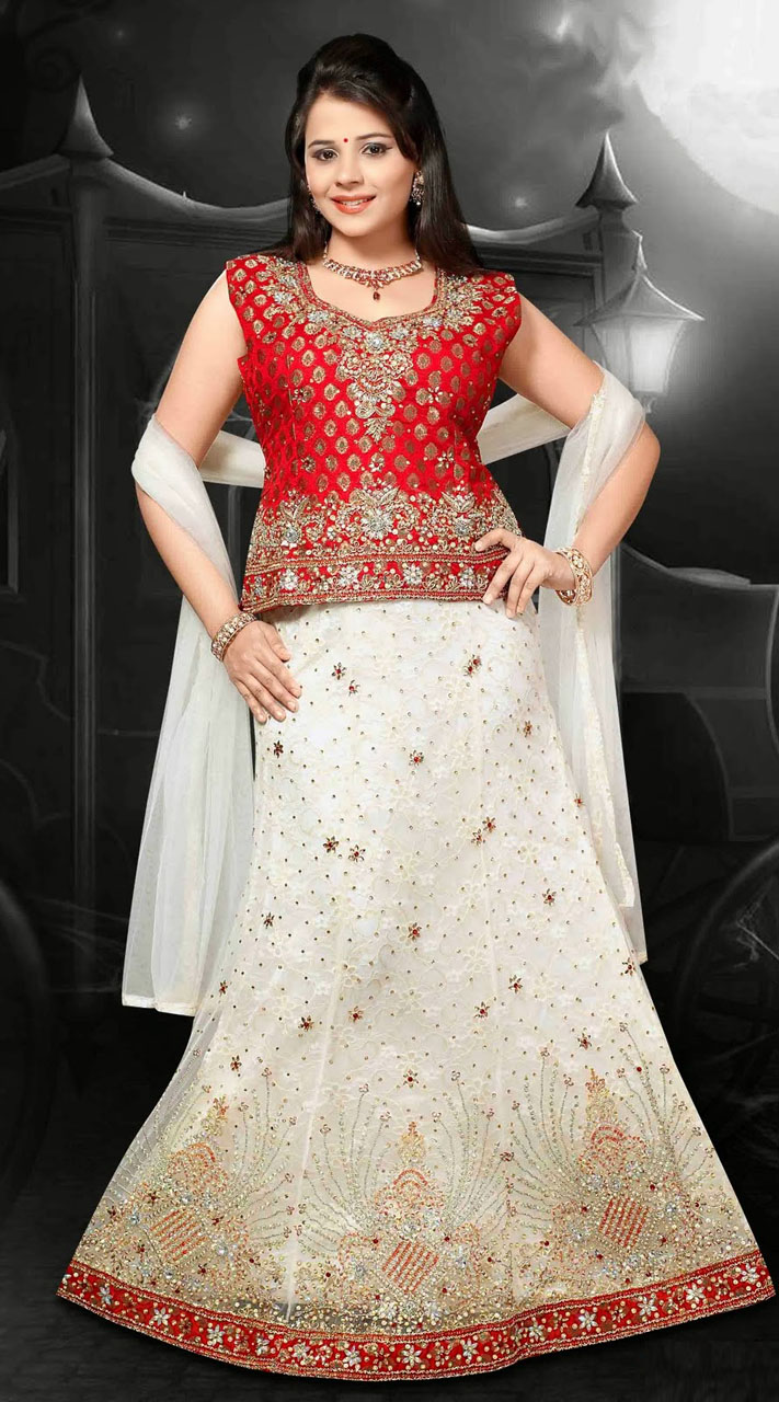 White And Red Net Embroidered Lehenga Choli With Dupatta Dt92139