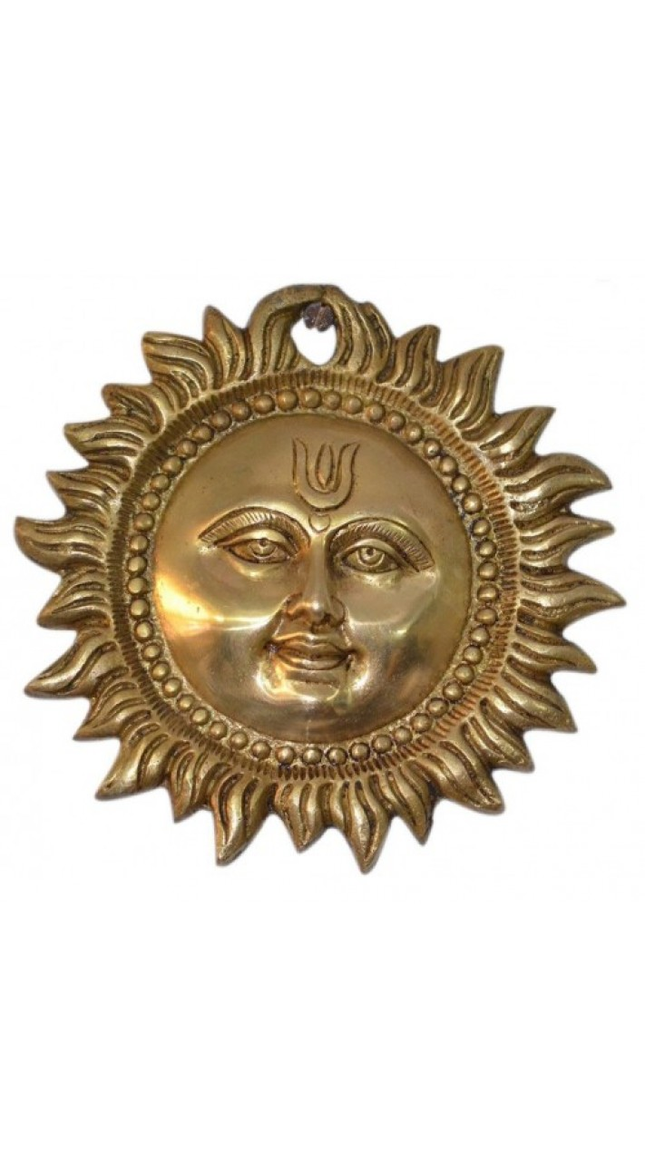 Amazing Sun Wall Hanging Brass Metal Plaque Indian Home Decor 4 Inch
