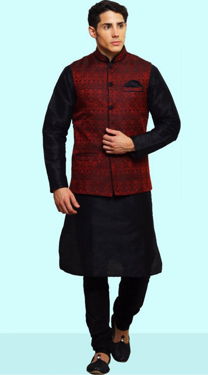 Black Dupian Silk Nehru Jacket Kurta Pajama DTKPJ21764