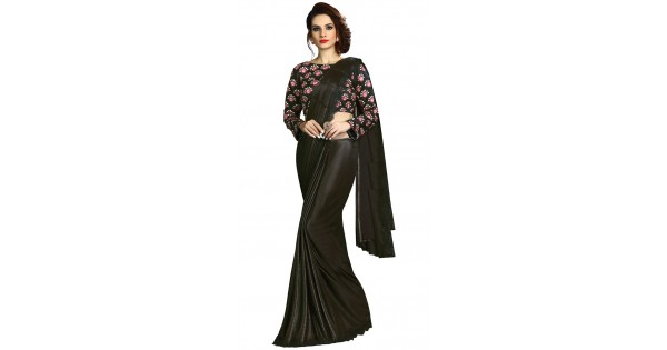 555d4c46f0 Black Fancy Knit Pre Pleated Saree With Floral Blouse MS461538