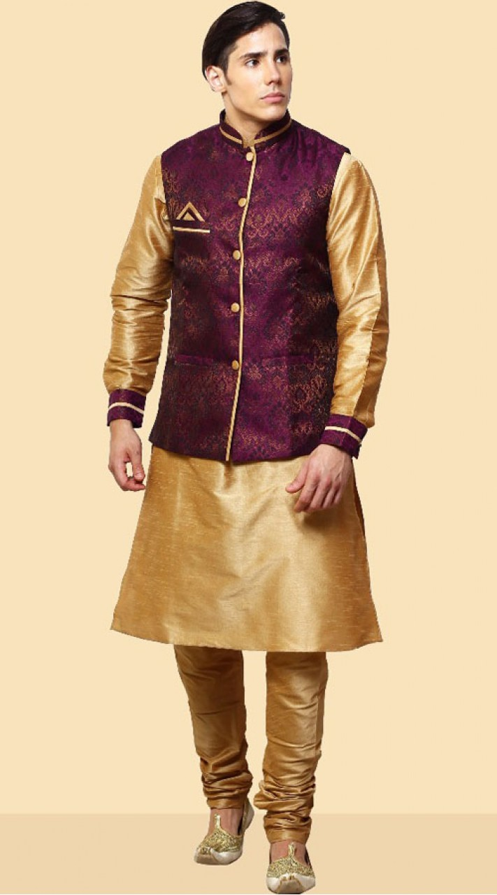676825b1be4 Golden Kurta Pajama With Nehru Jacket DTKPJ21564
