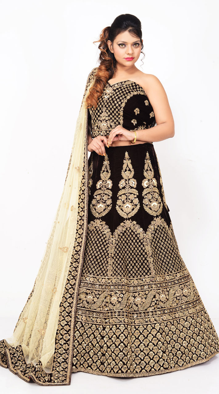 d5ceb16ca4c469 Coffee Brown Hand Work Velvet Bridal Lehenga Choli LD03055