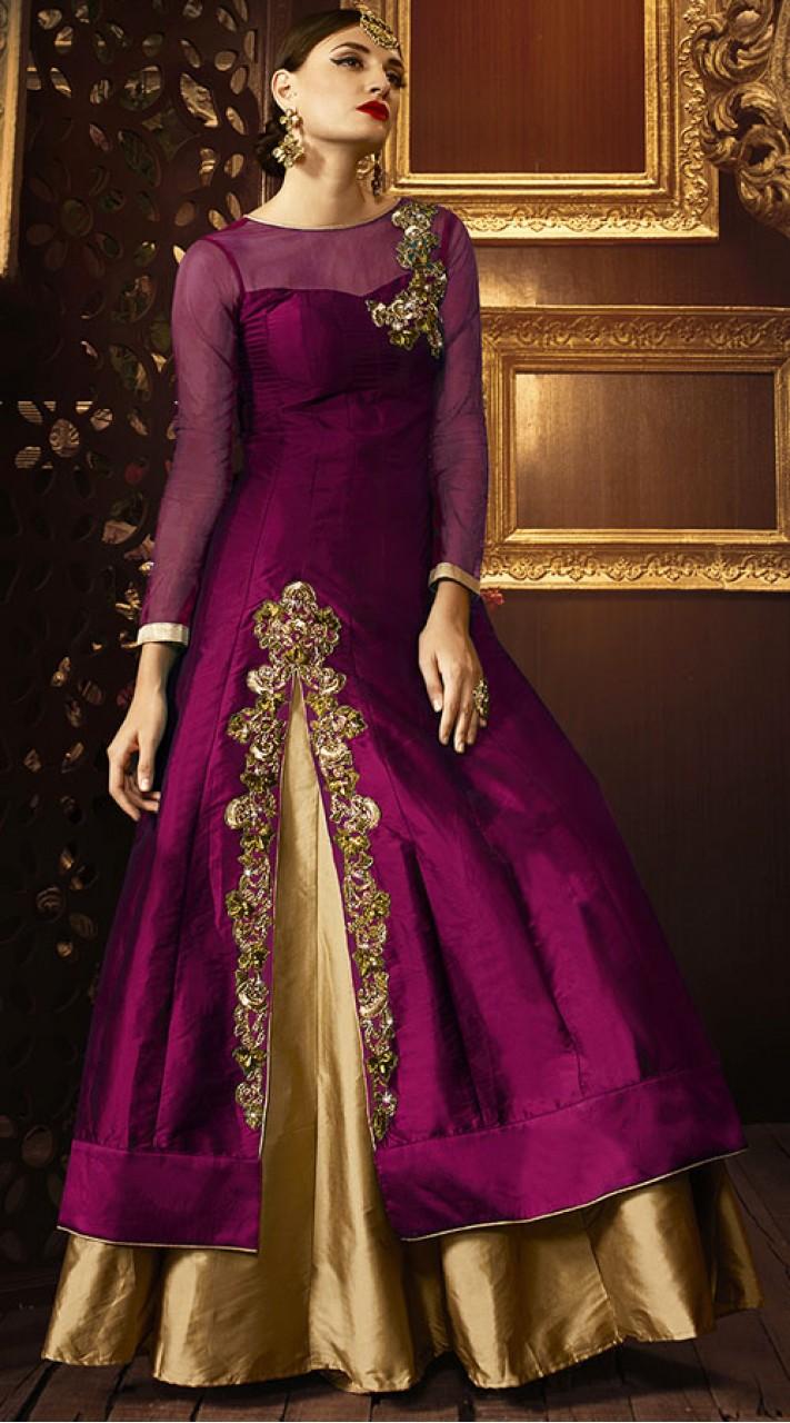 520a64e53e9 Purple Taffeta Silk Anarkali Cum Lehenga TK103G15