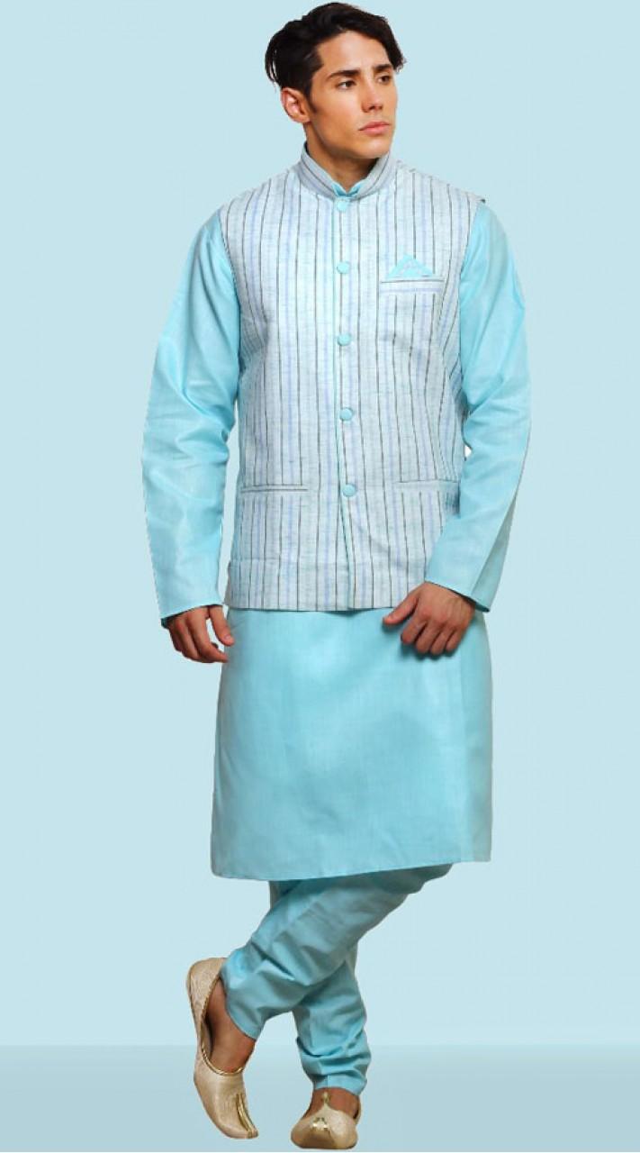Sky Blue Dupian Silk Kurta Pajama With Nehru Jacket DTKPJ21664