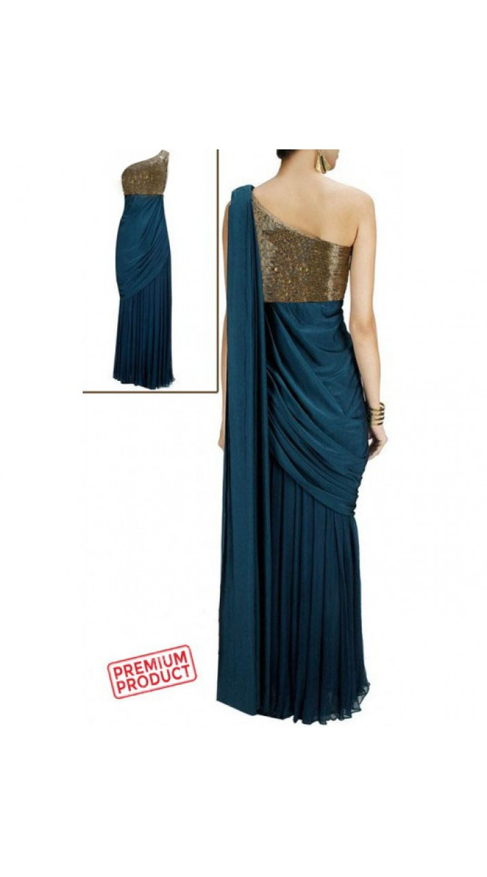 Teal Blue Georgette Saree Gown BP0454
