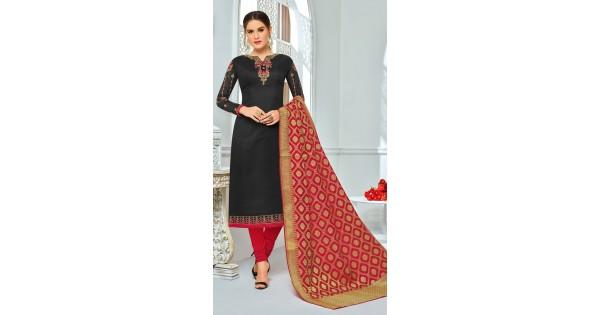 a7ea5e8cf3 Admired Black Cotton Banarasi Dupatta churidar Suit KR1001201