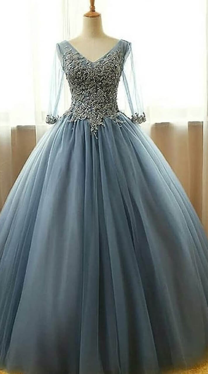 34ecab20dcba Blue Cinderella Style Gown in Net WJ008204