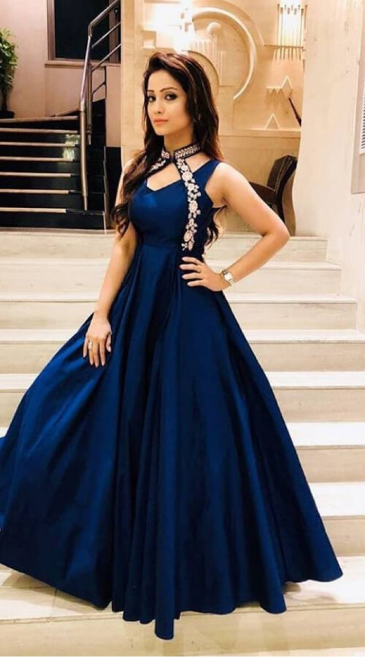 038e13ce93 Blue Satin Bollywood Style Band Collar Gown WJ006504