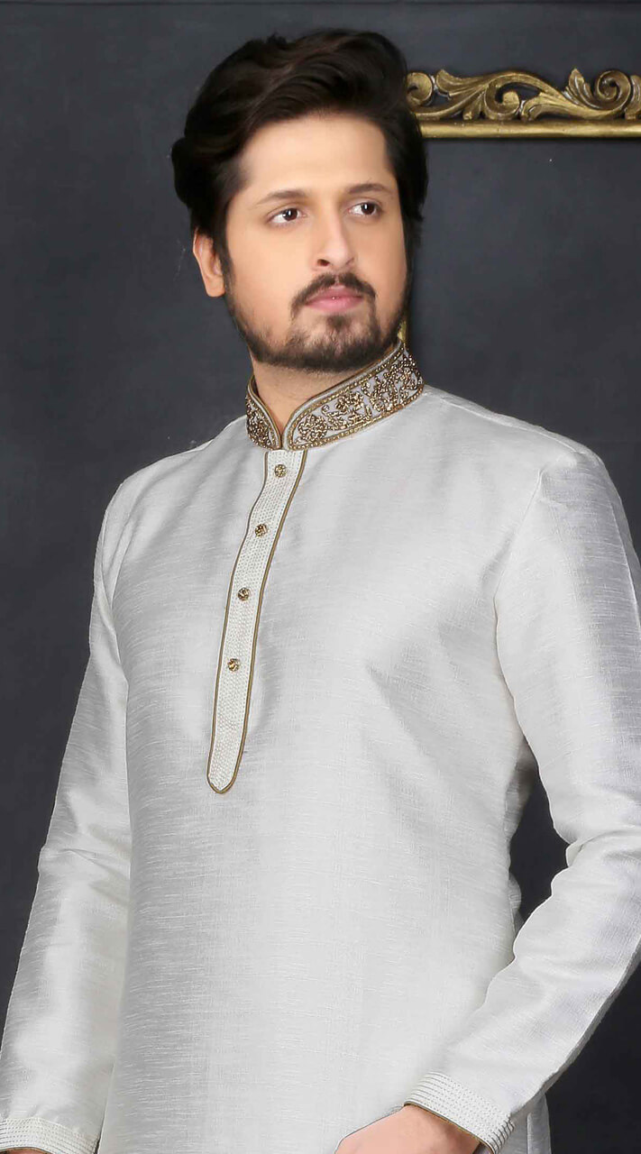 8e99996d1e Silver Fancy silk Men Kurta Pajama For Wedding BN3106775