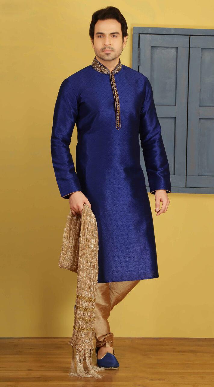 Royal Blue Fancy Silk Men Kurta Pajama For Wedding Wear Bn3107675